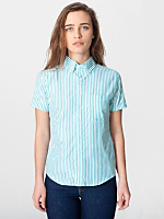 Unisex Stripe Short Sleeve Button-Down with Pocket