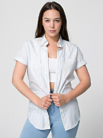 Unisex Striped Poplin Short Sleeve Button-Down