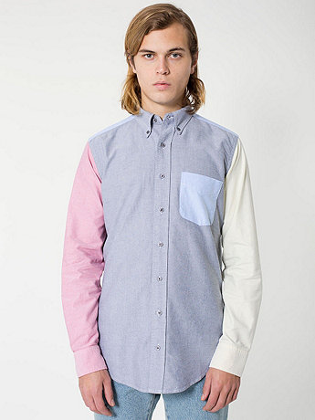 Color Block Stone Wash Oxford Long Sleeve Button-Down with Pocket