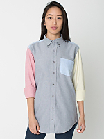 Unisex Color Block Stone Wash Oxford Long Sleeve Button-Down with Pocket