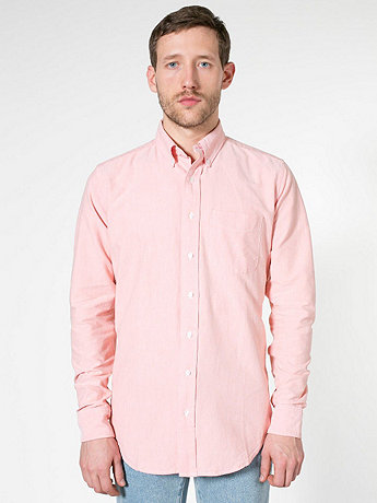 Stone Wash Oxford Long Sleeve Button-Down with Pocket