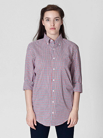 Unisex Gingham Classic Long Sleeve Button-Down