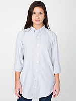 Unisex Striped Stone Wash Oxford Long Sleeve Button-Down