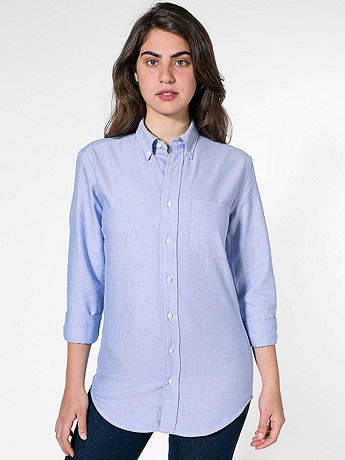 Unisex Stone Wash Oxford Long Sleeve Button-Down with Pocket