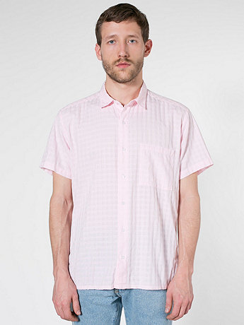 Window Weave Short Sleeve Button-Up with Pocket