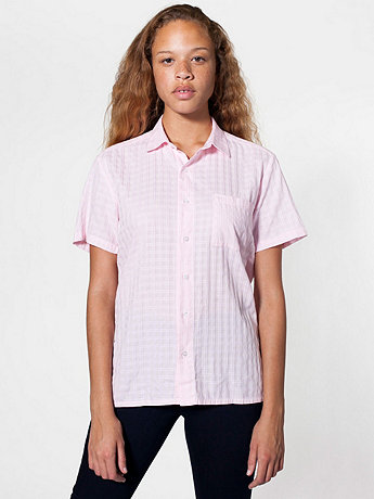 Unisex Window Weave Short Sleeve Button-Up with Pocket