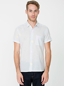 Printed Cotton Short Sleeve Button-Up with Pocket