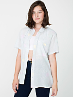 Unisex Printed Cotton Short Sleeve Button-Up with Pocket