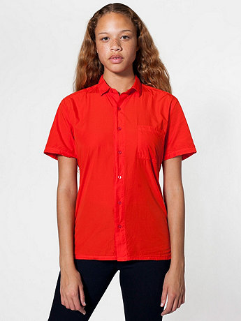 Unisex Italian Cotton Short Sleeve Button-Up with Pocket