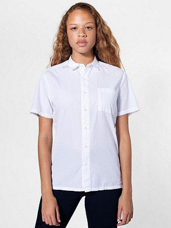 Unisex Italian Cotton Short Sleeve Button-Up with Pocket
