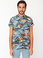 Tropical Short Sleeve Button-Up with Pocket