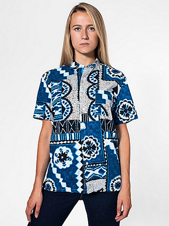 Unisex Tropical Short Sleeve Button-Up with Pocket