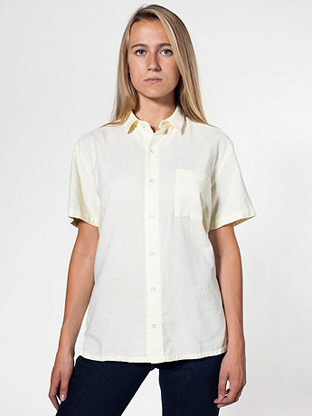 Unisex Coastal Oxford Short Sleeve Button-Up with Pocket