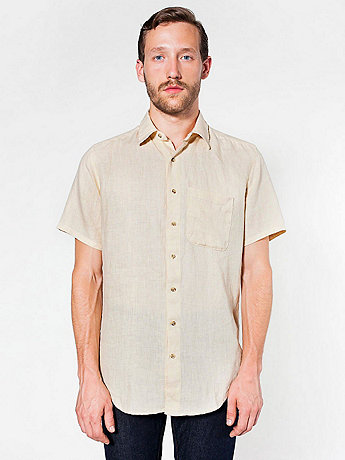 Relaxed Linen Short Sleeve Button-Up with Pocket