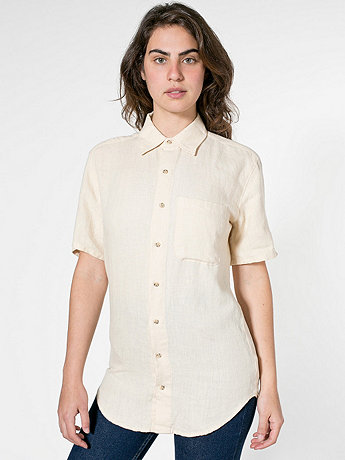 Unisex Relaxed Linen Short Sleeve Button-Up with Pocket
