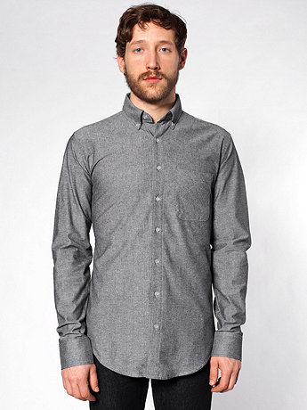 Chambray Long Sleeve Button-Down with Pocket