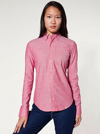 Unisex Chambray Long Sleeve Button-Down with Pocket