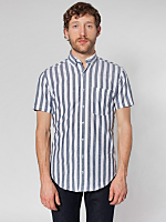 Stripe Chambray Short Sleeve Button-Down with Pocket