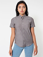 Unisex Chambray Short Sleeve Button-Down with Pocket