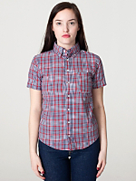 Unisex Plaid Short Sleeve Button-Down with Pocket