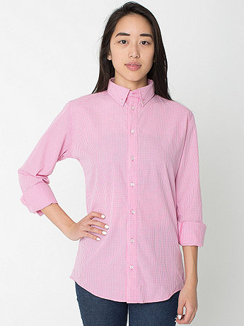 Unisex Gingham Long Sleeve Button-Down