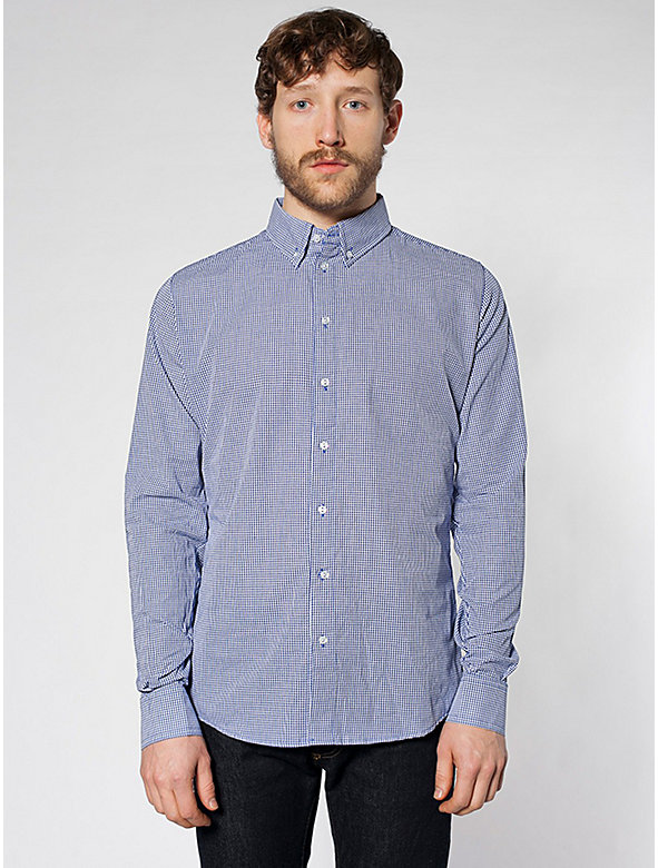 Gingham Check Long Sleeve Button-Down With Pocket