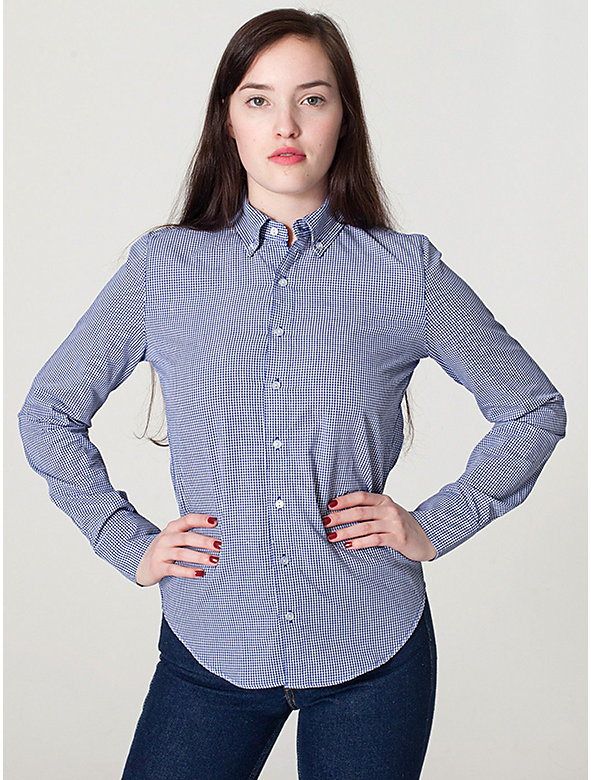 Unisex Gingham Check Long Sleeve Button-Down With Pocket