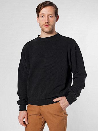 Cotton Ottoman Rib Drop-Shoulder Pullover