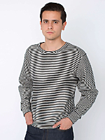 Stripe Cotton Ottoman Rib Drop-Shoulder Pullover