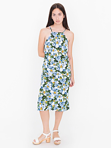 Printed Crepe Crossback Midi Dress