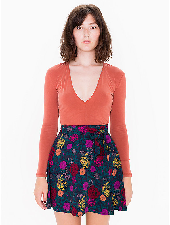 Printed Demi Wrap Skirt