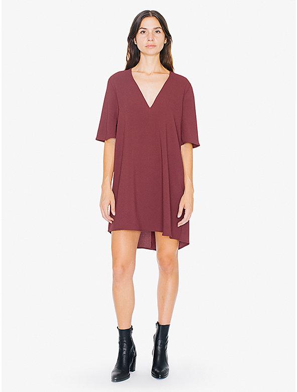 Crepe Slit Back V-Neck Mini Dress