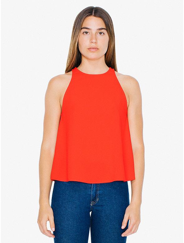 American Apparel Womens Crepe Open Back Top - Multi Colors