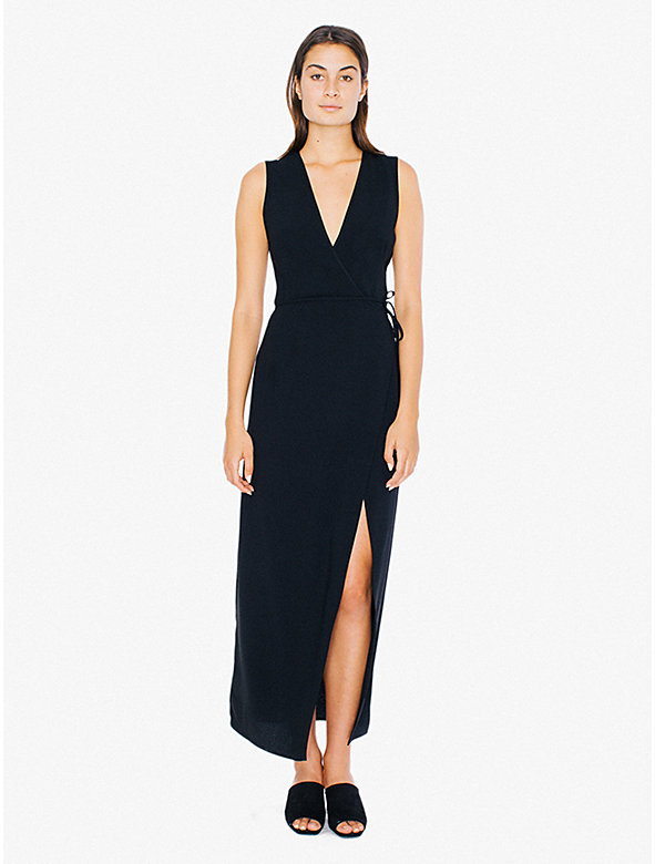 Crepe Sleeveless Julliard Wrap Dress