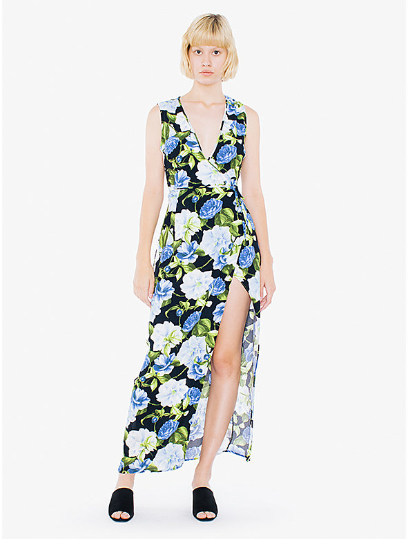 Printed Crepe Sleeveless Julliard Wrap Dress