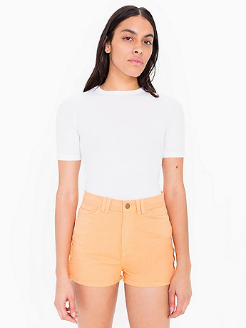 Stretch Twill High-Waist Side Zipper Short