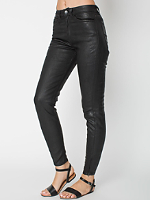 Faux Cuir Zipper Jean
