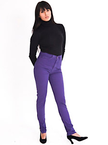 Stretch Twill High Waist Side Zipper Pant