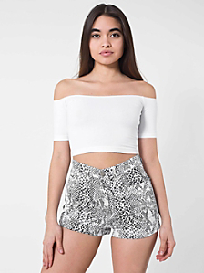Python Print Cotton Twill High Waist Cuff Short