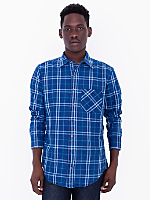 Indigo Plaid Cotton Twill Long Sleeve Button-Up with Pocket