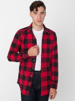 Brushed Plaid Cotton Twill Long Sleeve Button-Up with Pocket
