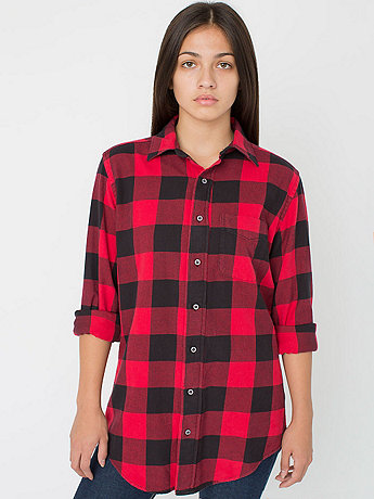 Unisex Brushed Plaid Cotton Twill Long Sleeve Button-Up with Pocket