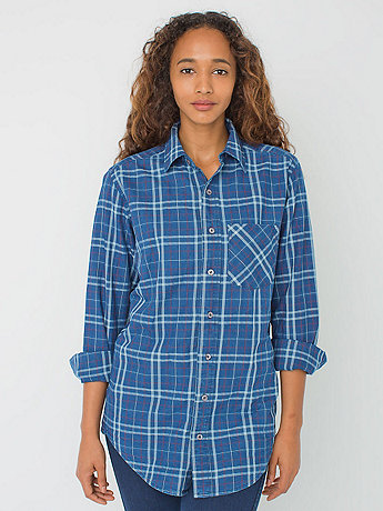 Unisex Indigo Plaid Cotton Twill Long Sleeve Button-Up with Pocket