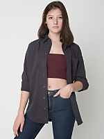 Unisex Cotton Twill Long Sleeve Button-Up with Pocket