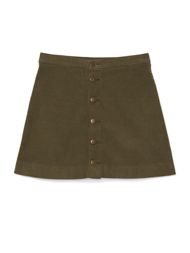 8 Wale Corduroy Button Front A-Line Skirt