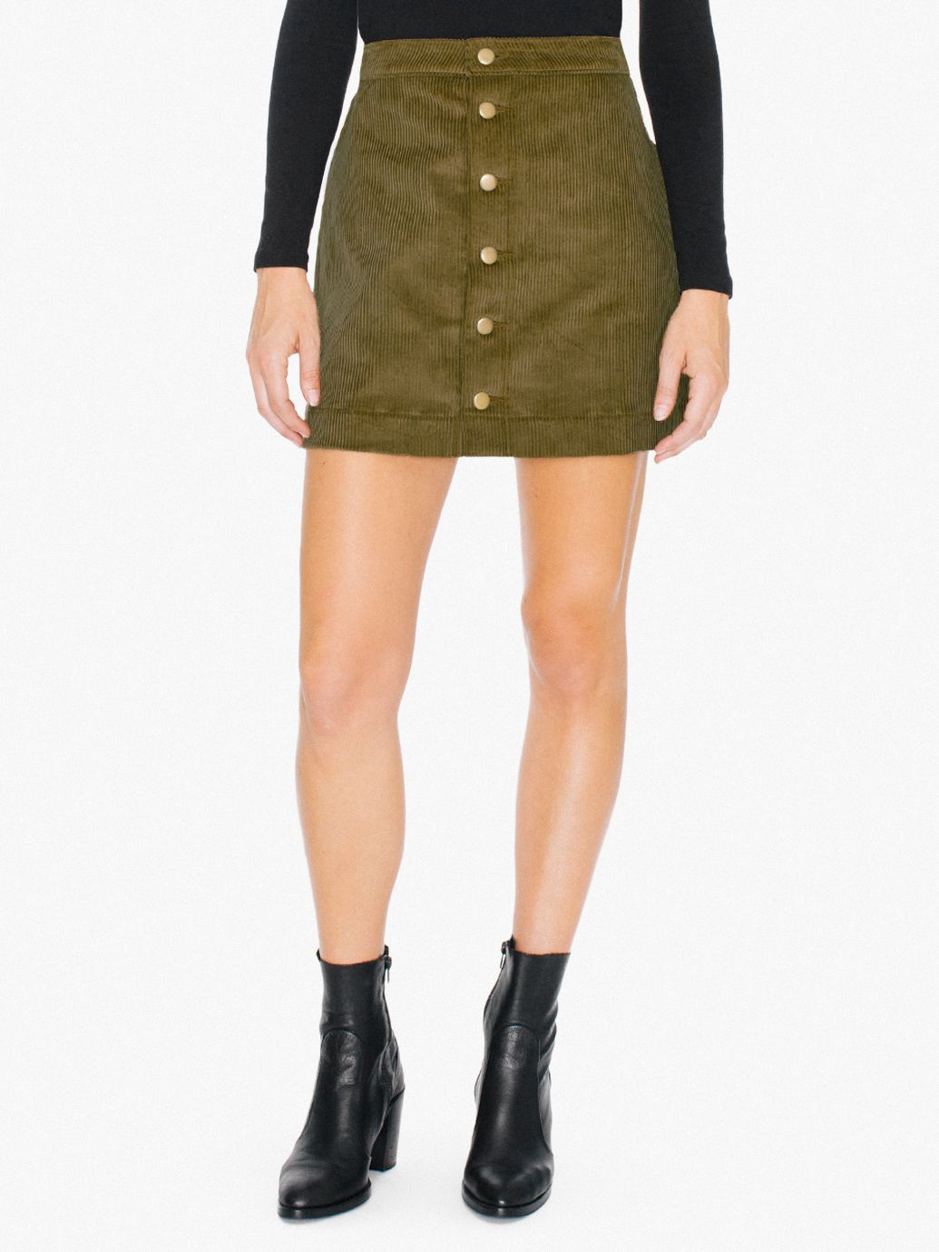 Corduroy Button Front A-Line Skirt | American Apparel