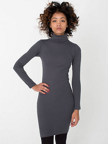 Solid Rib Turtleneck Dress