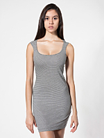 Pinstripe Jersey Cut-Out Back Mini Dress