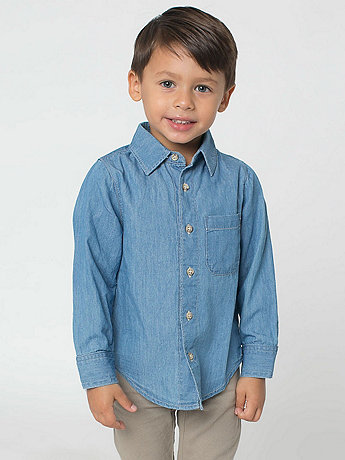 Kids' Denim Long Sleeve Button-Up