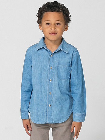Kids Denim Long Sleeve Button-Up